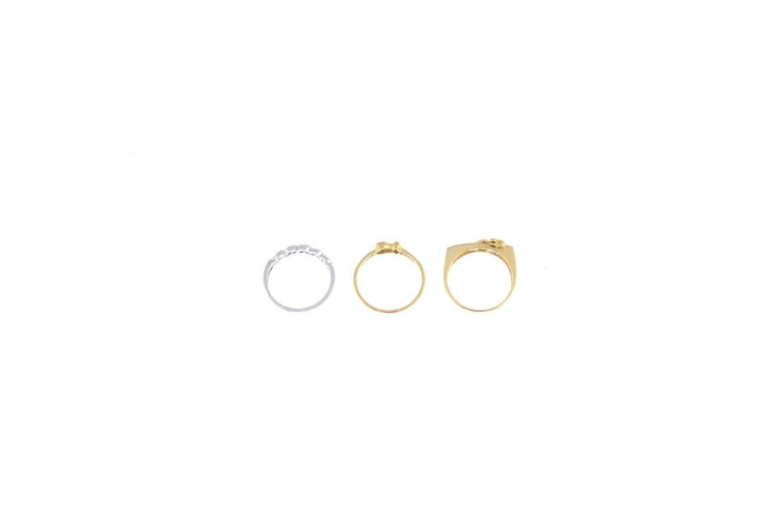 Three 9ct gold diamond and gem-set rings. To include a - 2