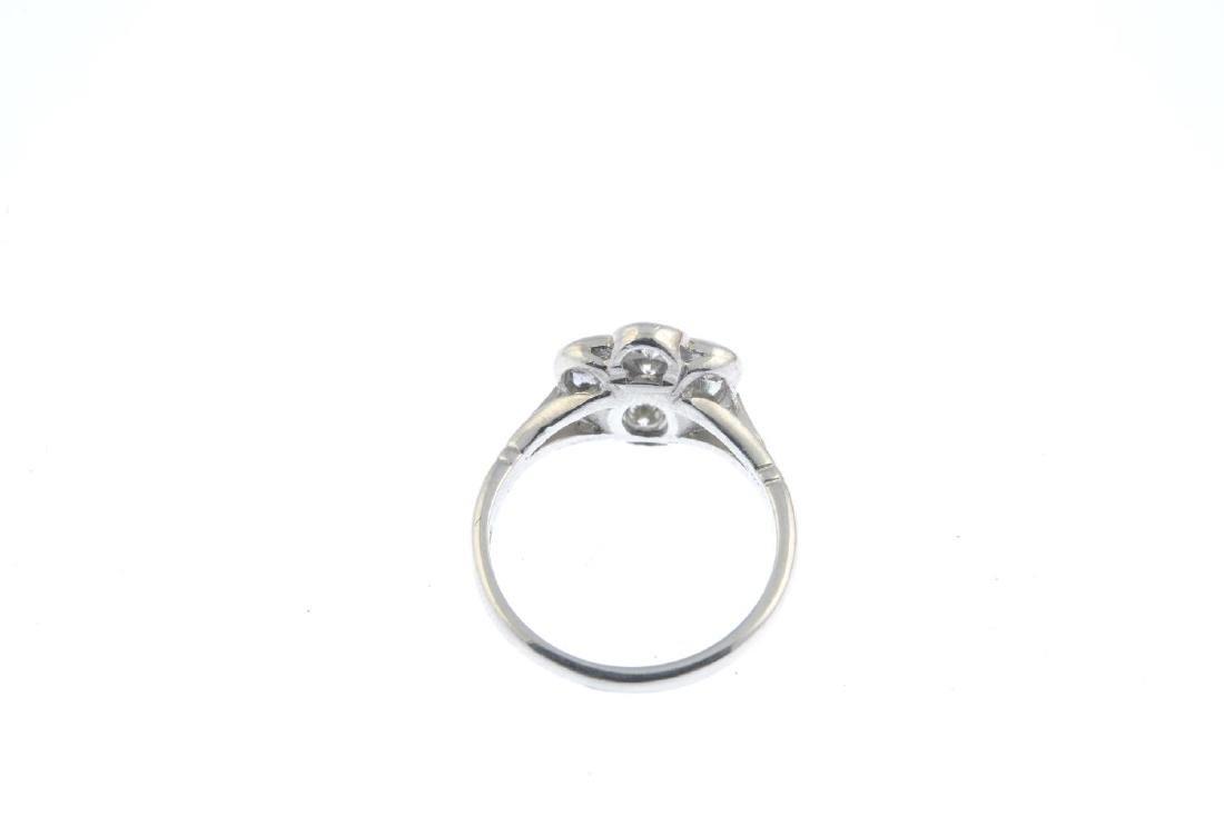 A platinum diamond cluster ring. The brilliant-cut - 3