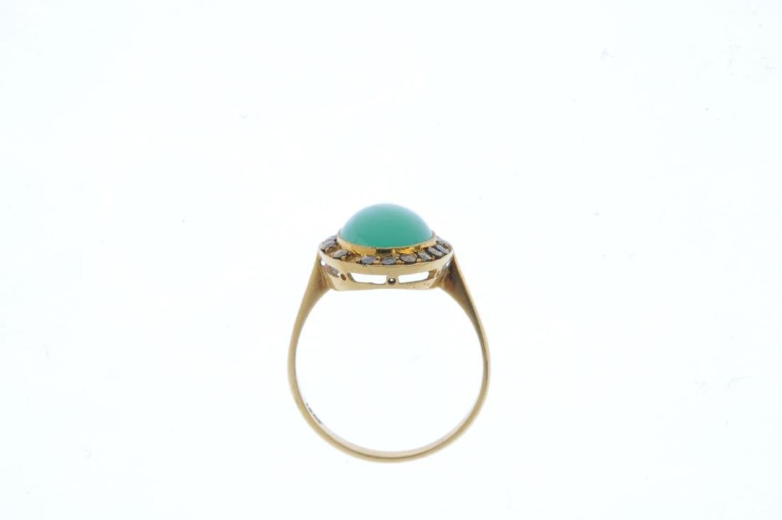 A chrysoprase and marcasite ring. The oval chrysoprase - 2