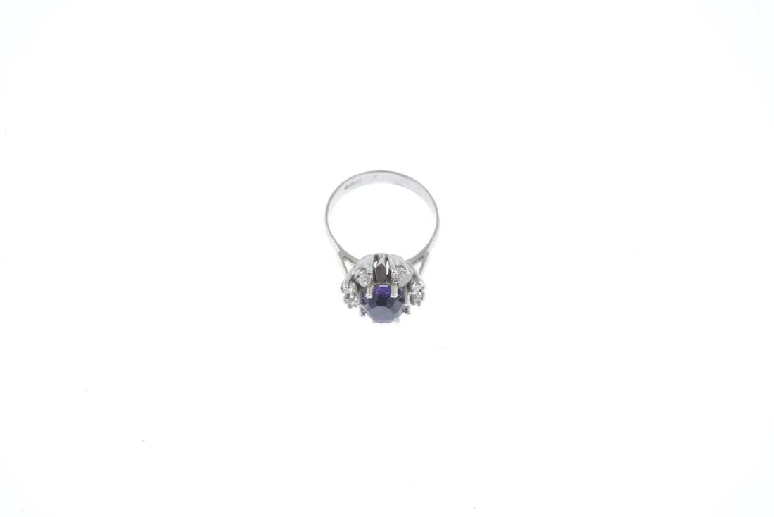A 1970s 18ct gold amethyst and diamond cluster ring. - 2
