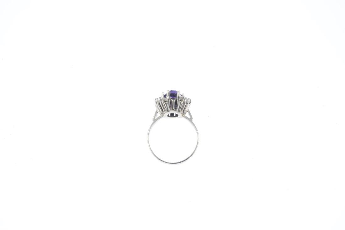 A 1970s 18ct gold amethyst and diamond cluster ring. - 3