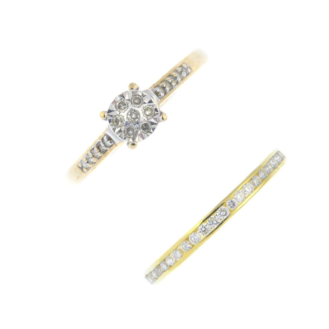 Two diamond rings. To include an 18ct gold