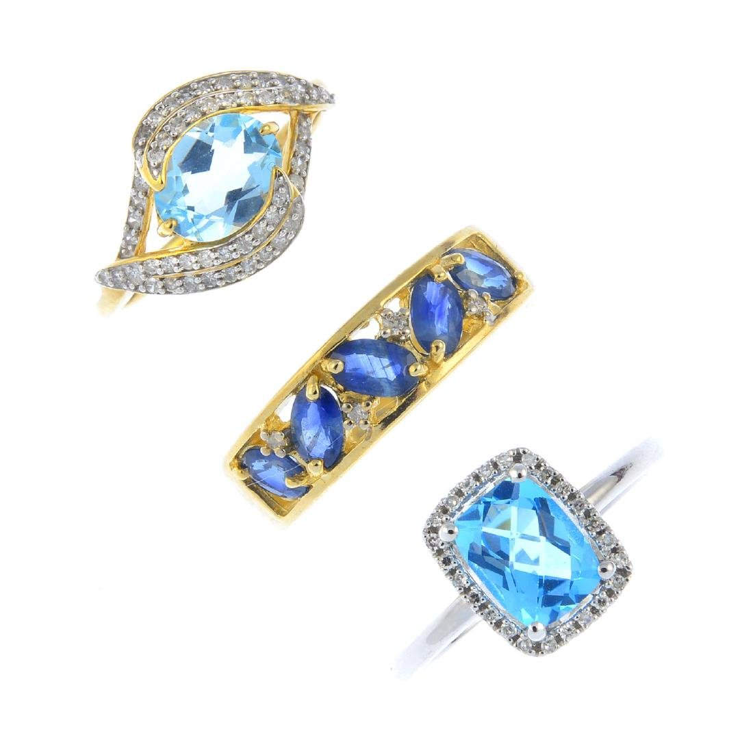 Three 9ct gold diamond and gem-set rings. To include a