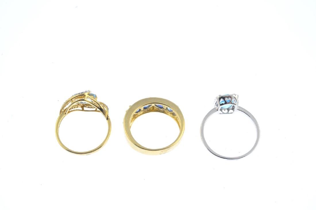 Three 9ct gold diamond and gem-set rings. To include a - 3