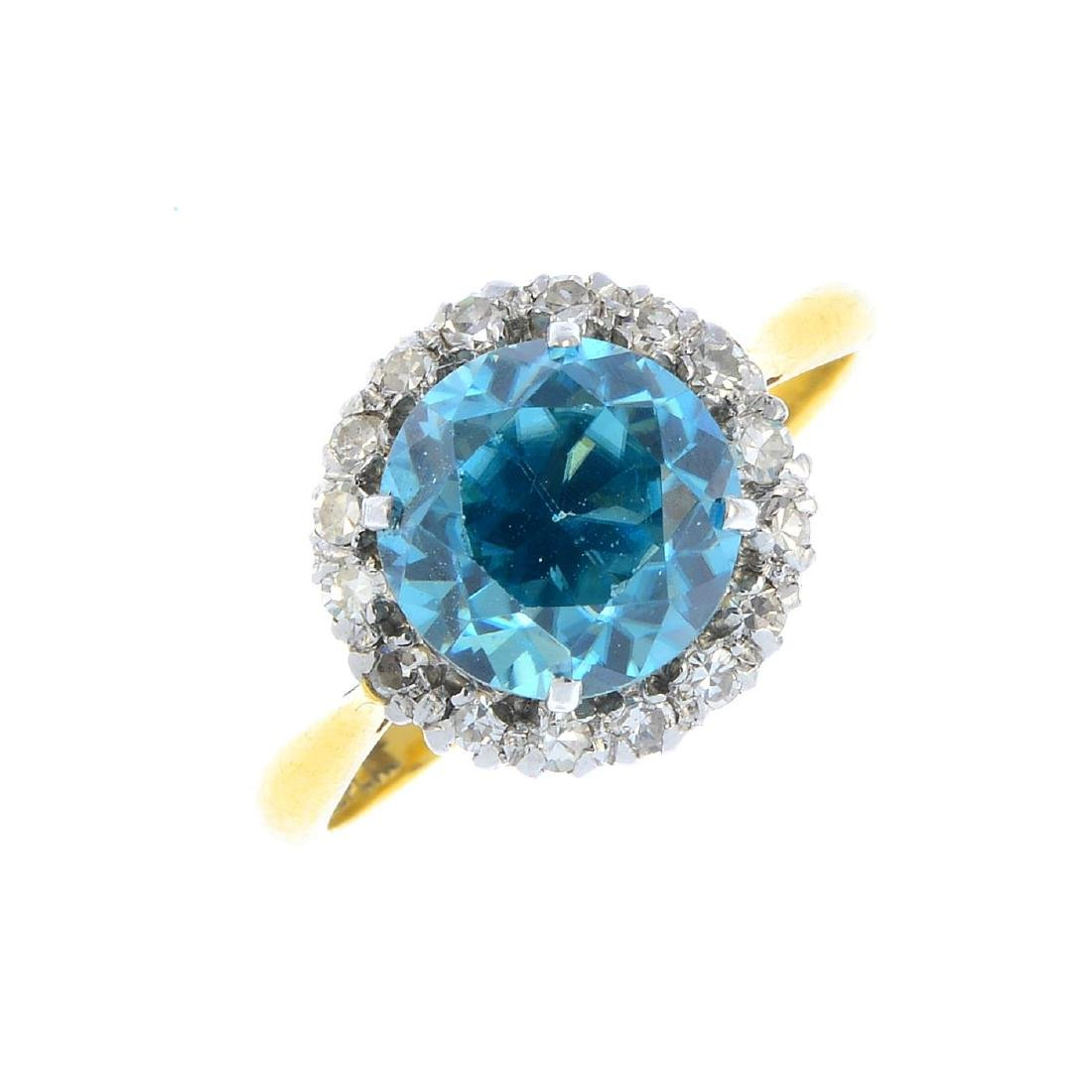 An early 20th century 18ct gold zircon and diamond