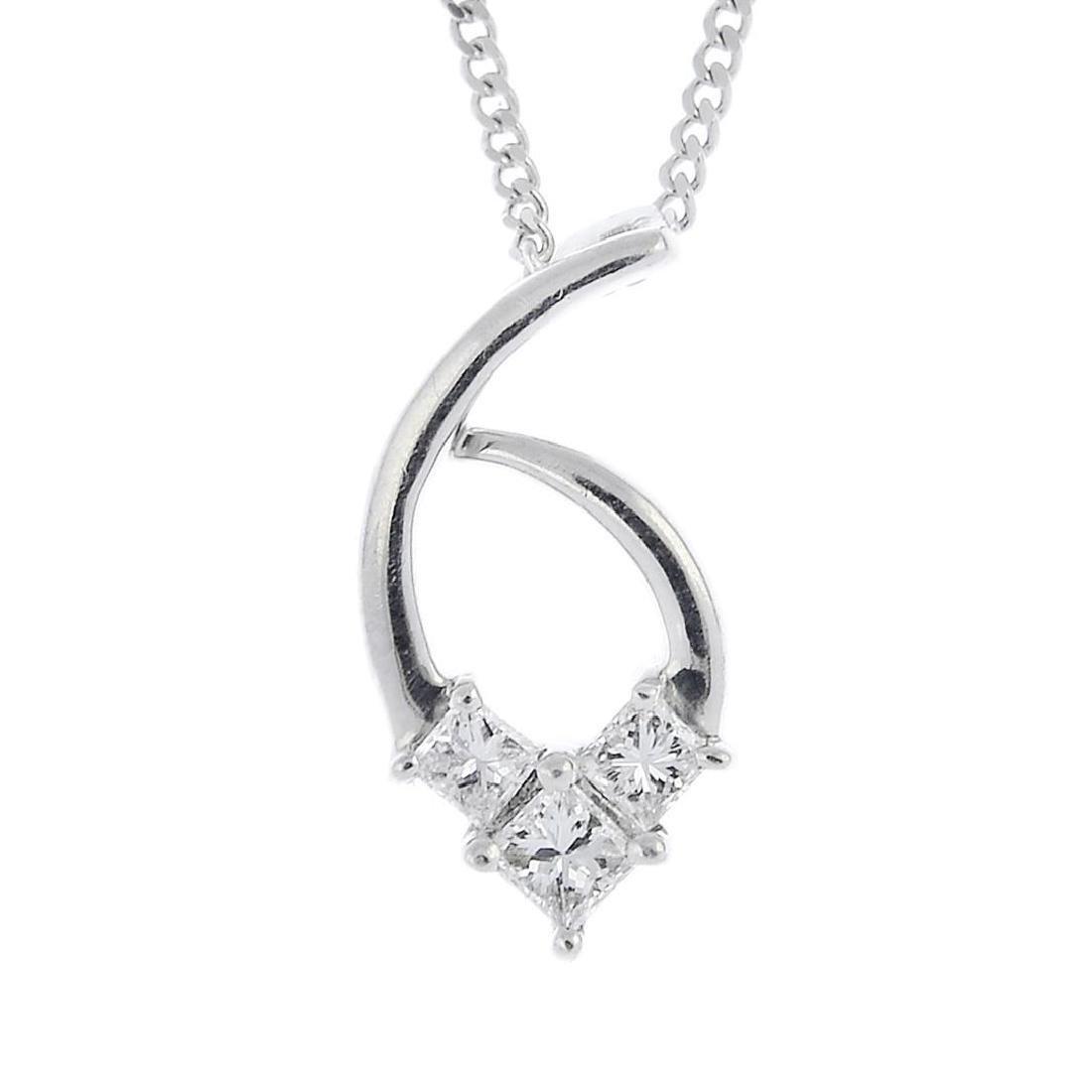 A diamond pendant. The square-shape diamond chevron,