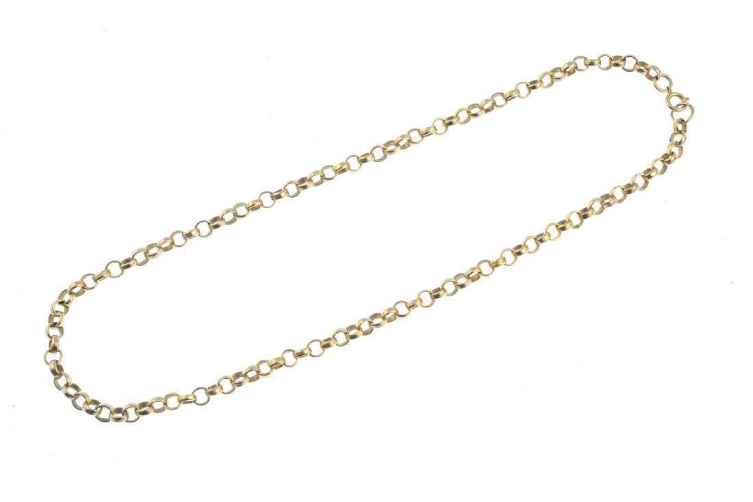 A 9ct gold necklace. Designed as a belcher-link chain, - 2