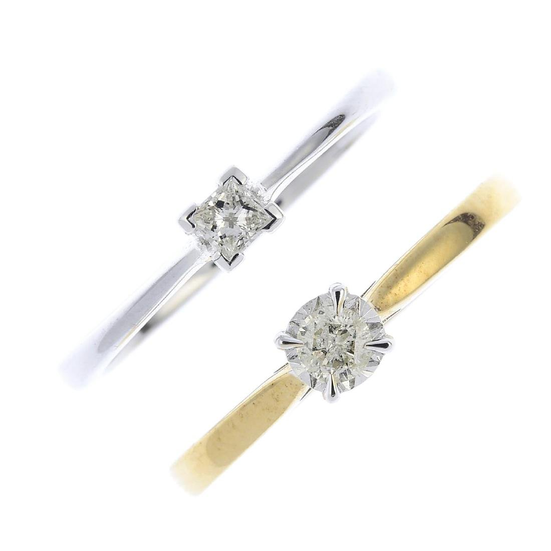 Two diamond single-stone rings. To include an 18ct gold