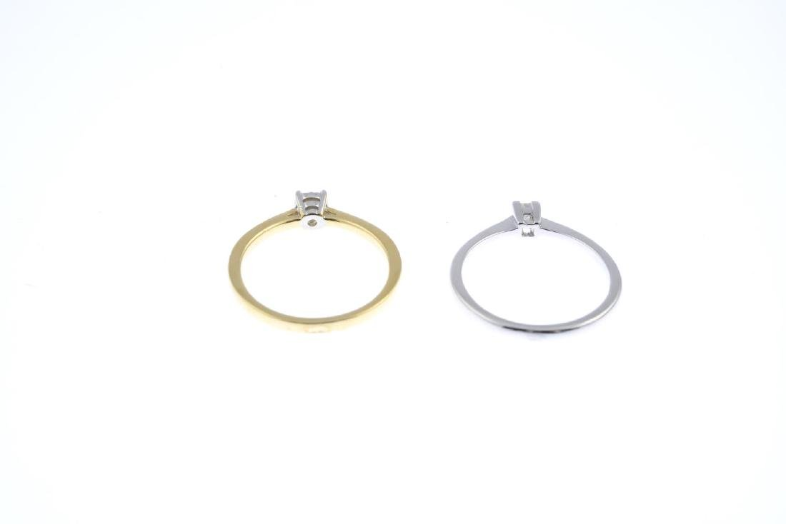 Two diamond single-stone rings. To include an 18ct gold - 3