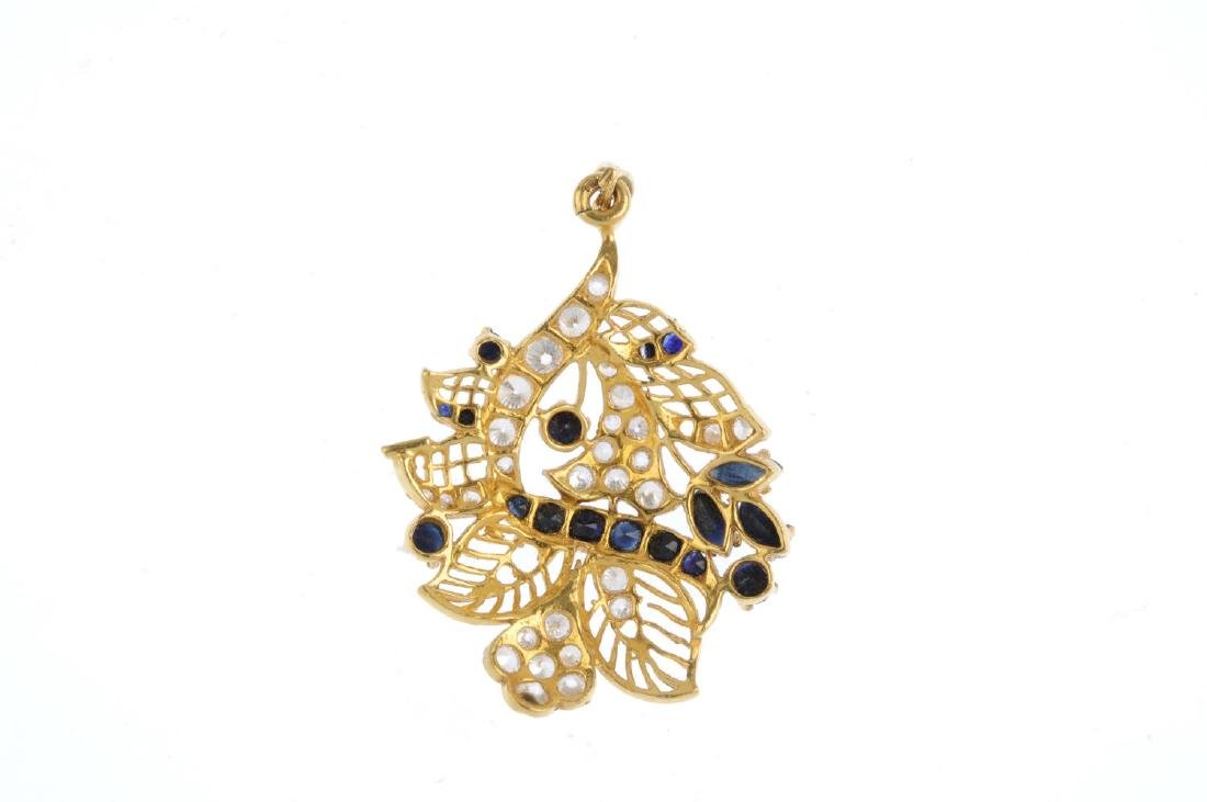 A sapphire and cubic zirconia pendant. Of foliate - 2