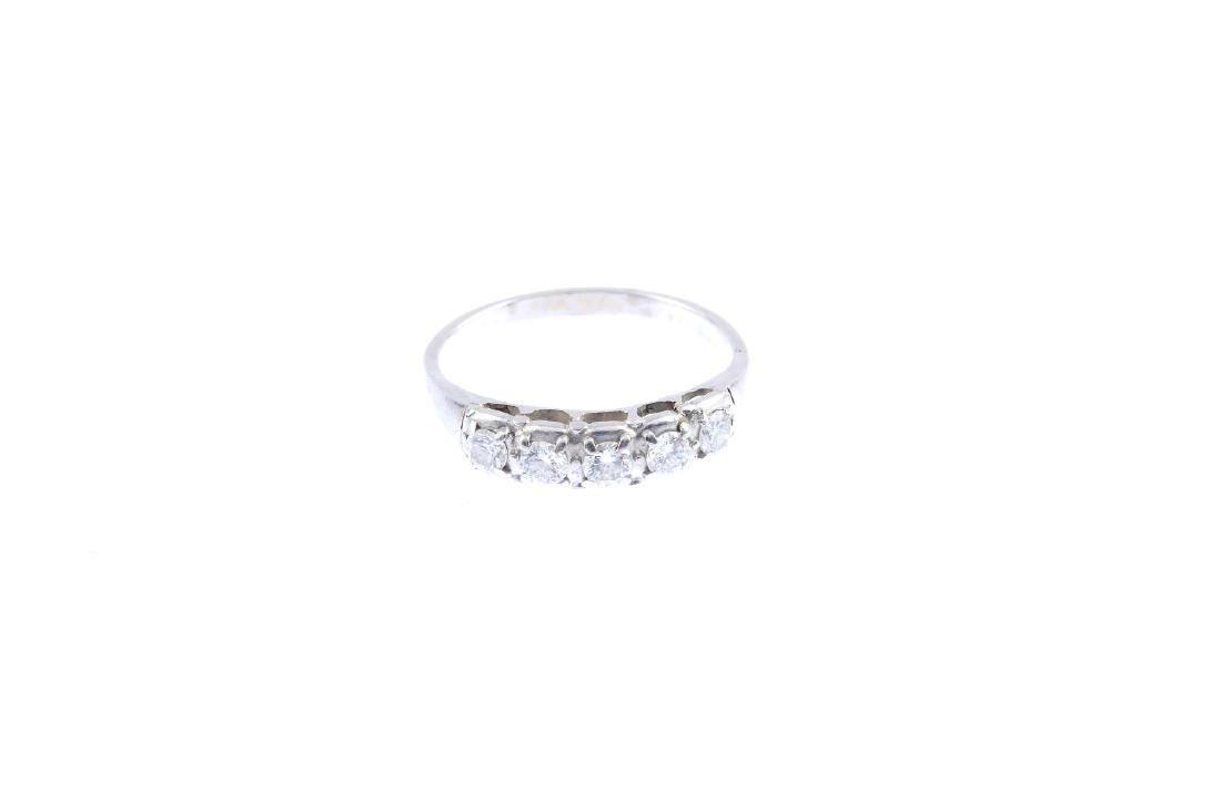 A diamond five-stone ring. The brilliant-cut diamond - 2