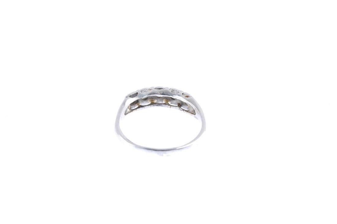 A diamond five-stone ring. The brilliant-cut diamond - 3