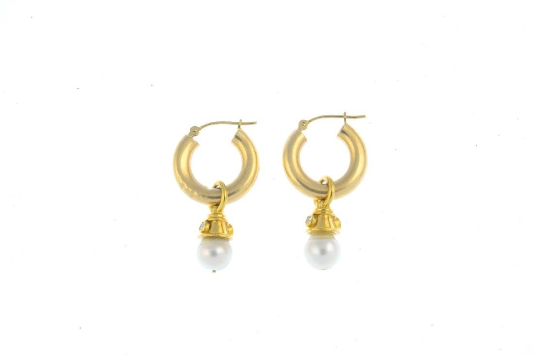 A pair of cultured pearl and diamond earrings. Each - 2
