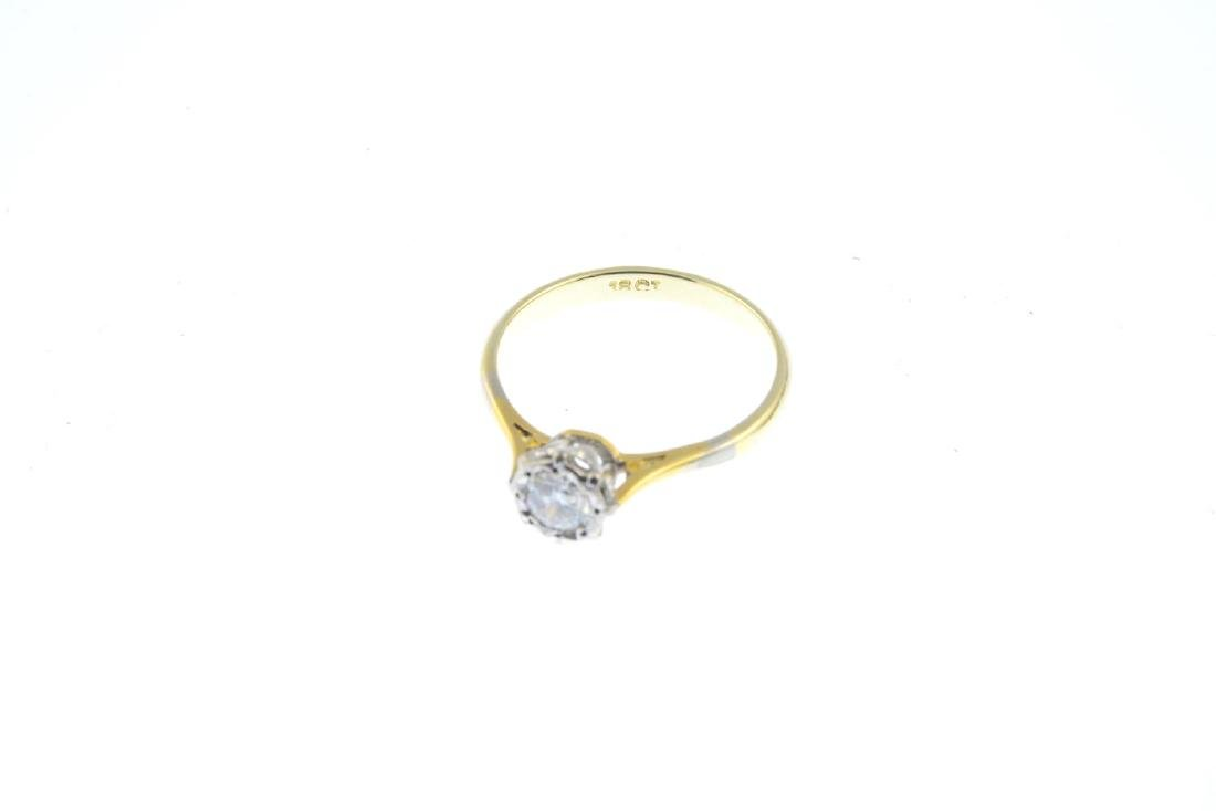 A diamond single-stone ring. The brilliant-cut diamond, - 2