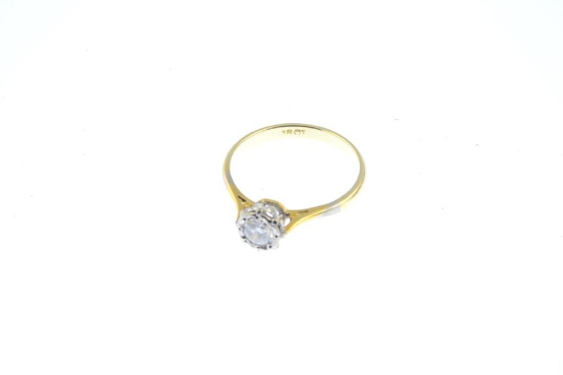 A diamond single-stone ring. The brilliant-cut diamond, - 2