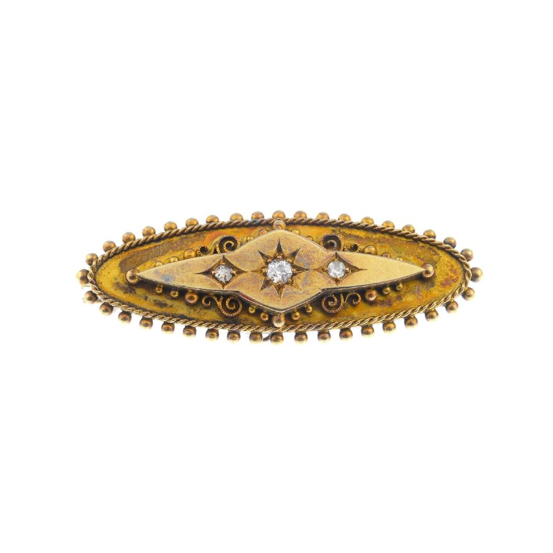 A late Victorian 15ct gold diamond brooch. The slightly