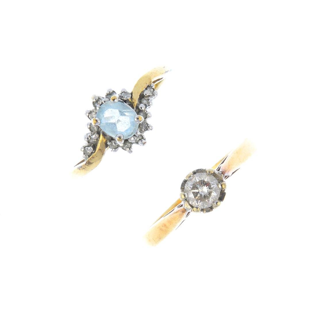 Two 9ct gold diamond and gem-set rings. To include an