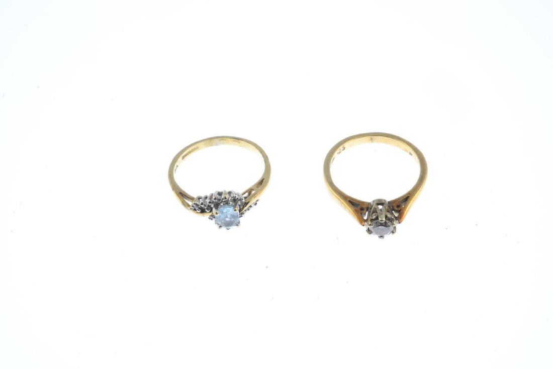 Two 9ct gold diamond and gem-set rings. To include an - 2