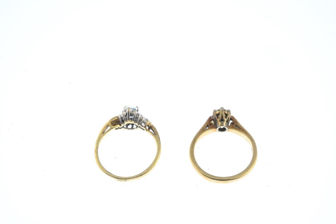 Two 9ct gold diamond and gem-set rings. To include an - 3