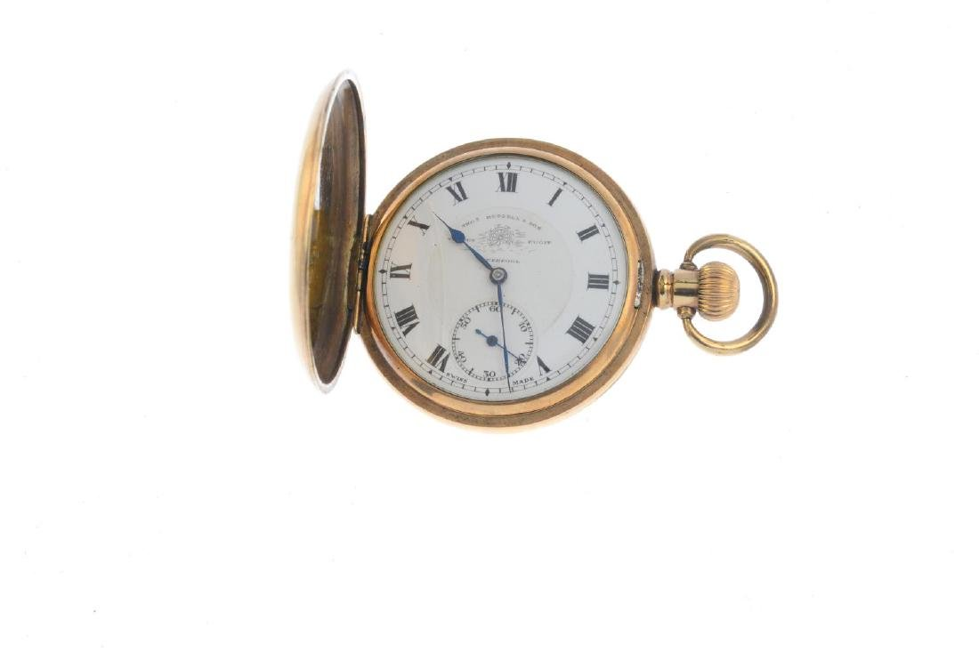 A 9ct gold cubic zirconia bracelet and a pocket watch. - 6