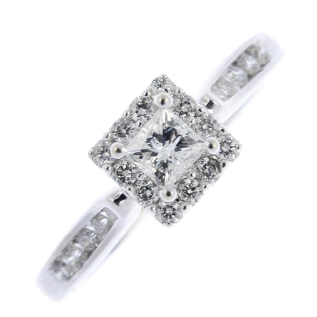 A diamond cluster ring. The square-shape diamond, with