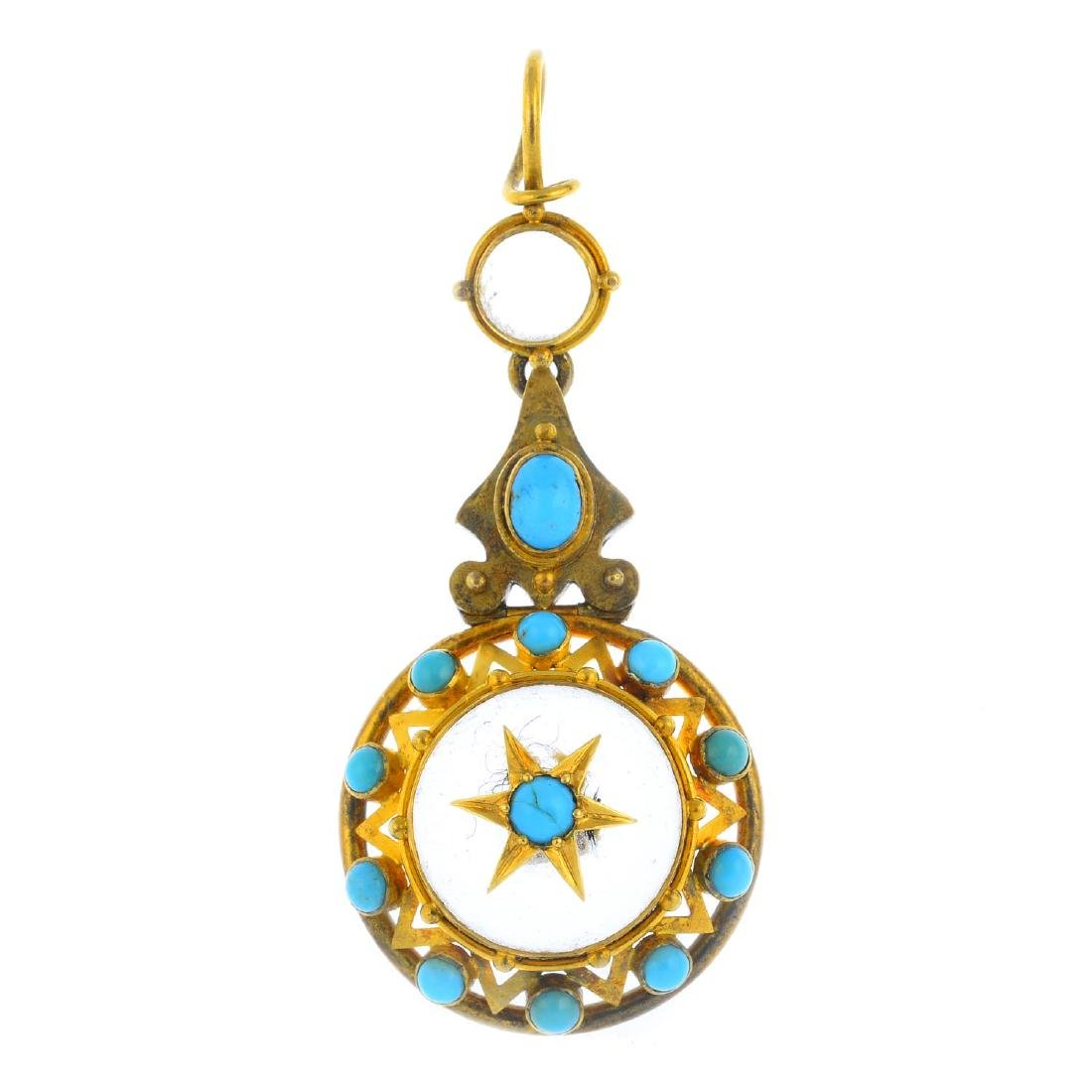 A late Victorian gold gem-set pendant. The circular