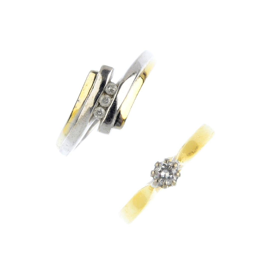 Two gold diamond rings. To include an 18ct gold