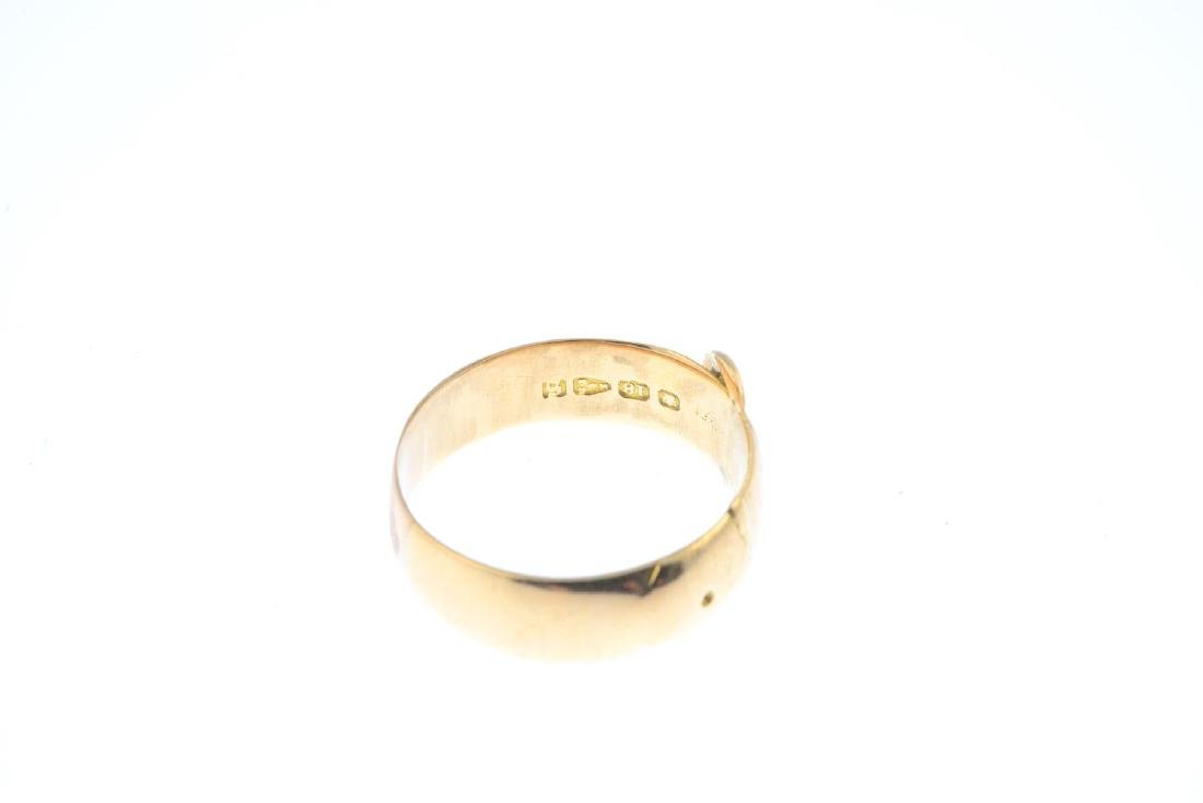 A late Victorian 18ct gold buckle ring. Hallmarks for - 2
