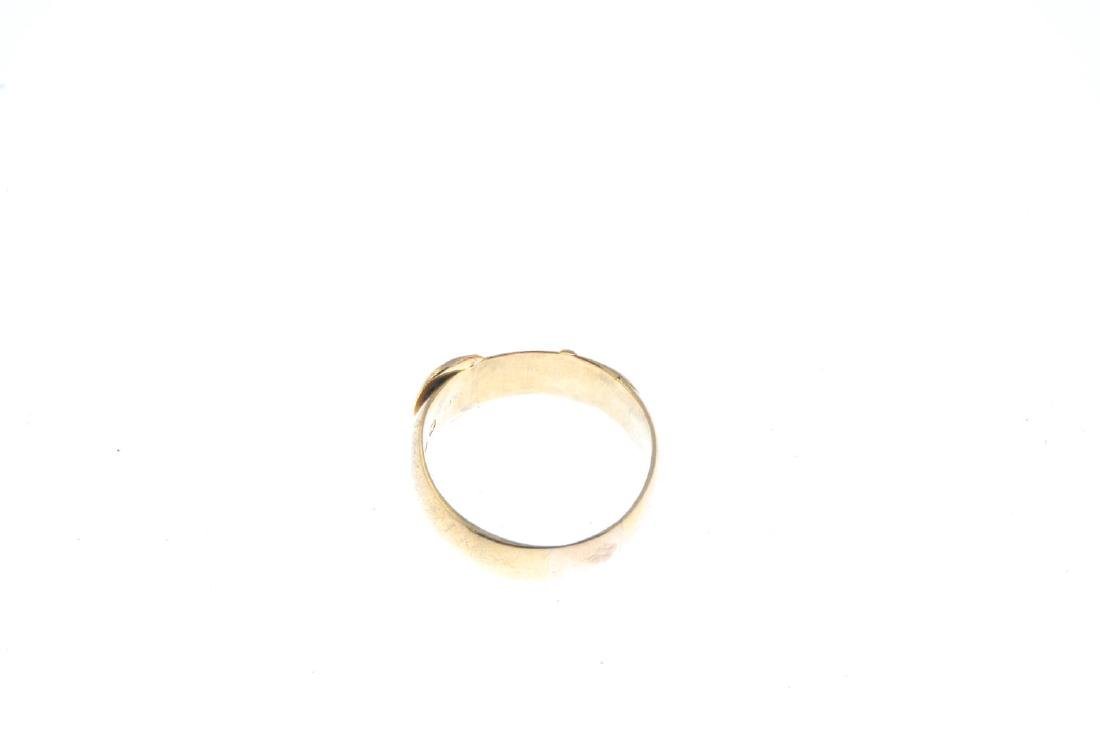 A late Victorian 18ct gold buckle ring. Hallmarks for - 3
