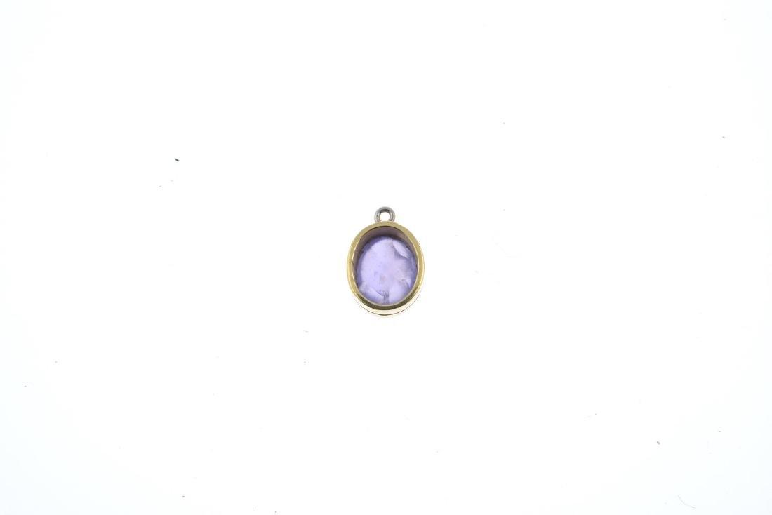 A star sapphire single-stone pendant. The oval purple - 2