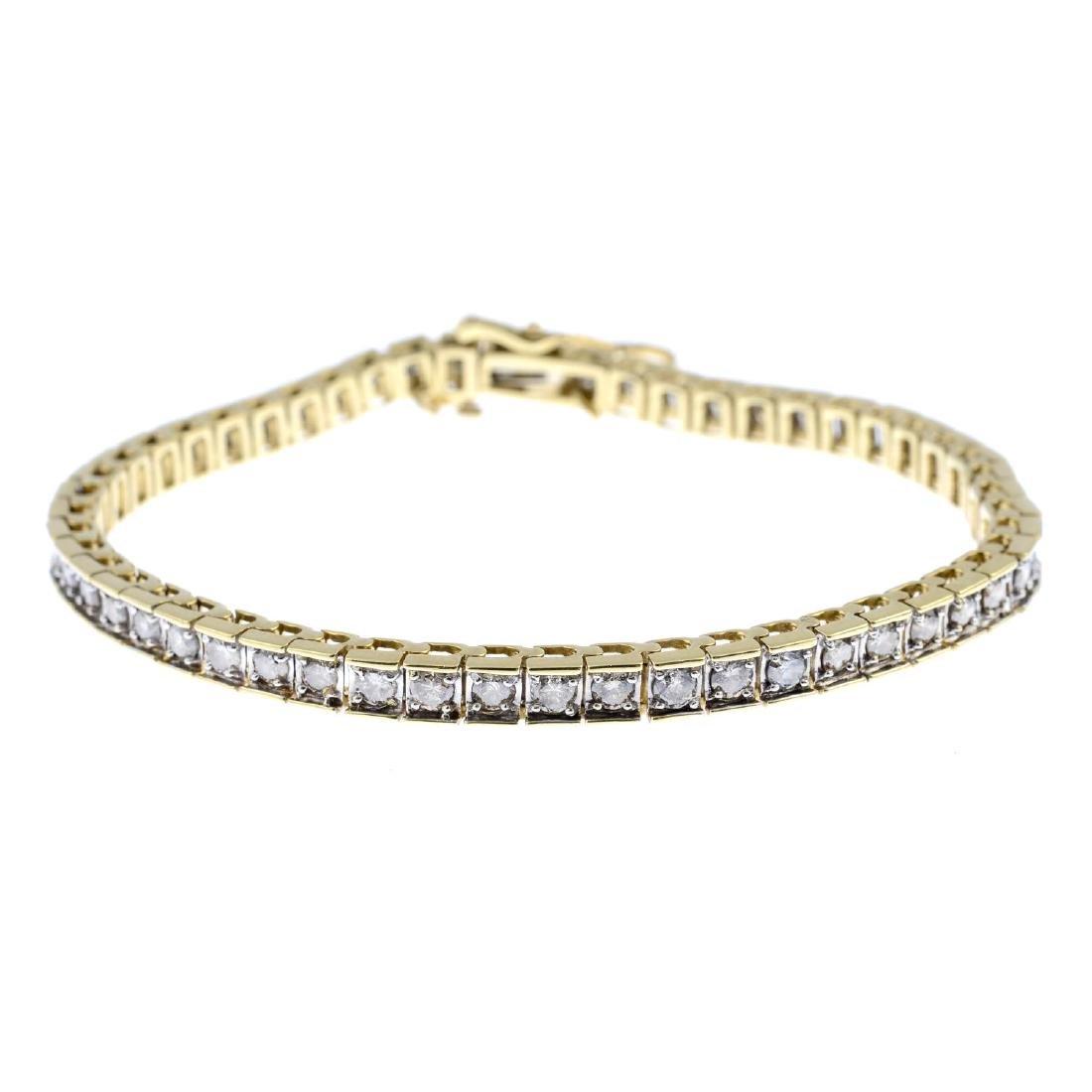 A diamond bracelet. The brilliant-cut diamond line,