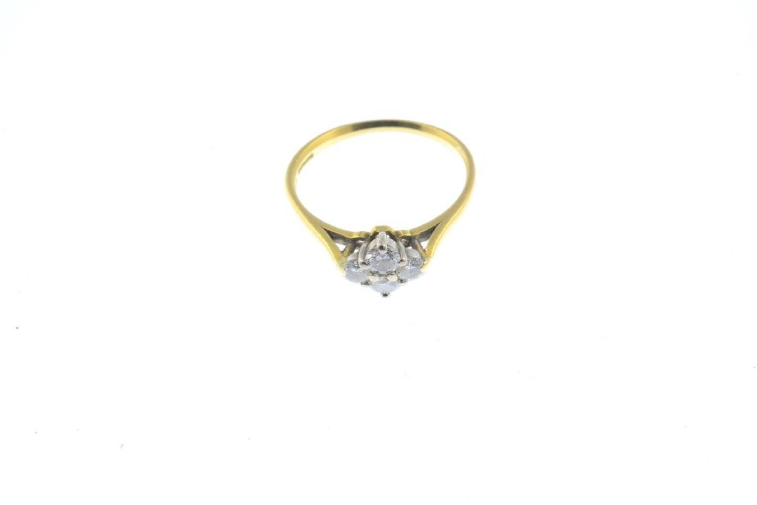 An 18ct gold diamond cluster ring. Designed as a - 2