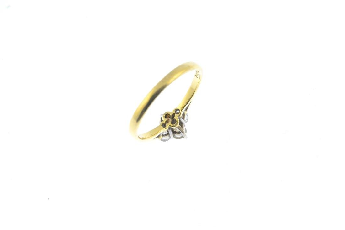 An 18ct gold diamond cluster ring. Designed as a - 3