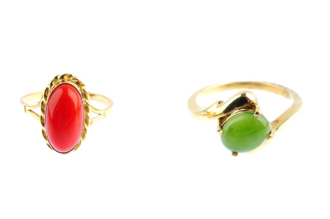 Two gem-set rings. The first designed as an oval - 2