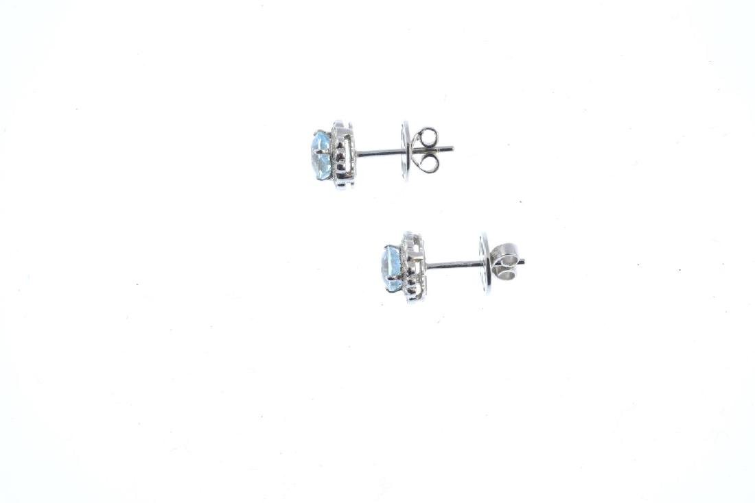 A pair of 18ct gold aquamarine and diamond earrings. - 2