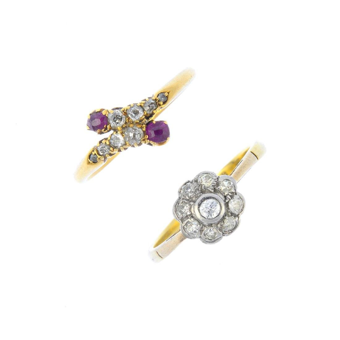 Two diamond and ruby rings. To include a late Victorian