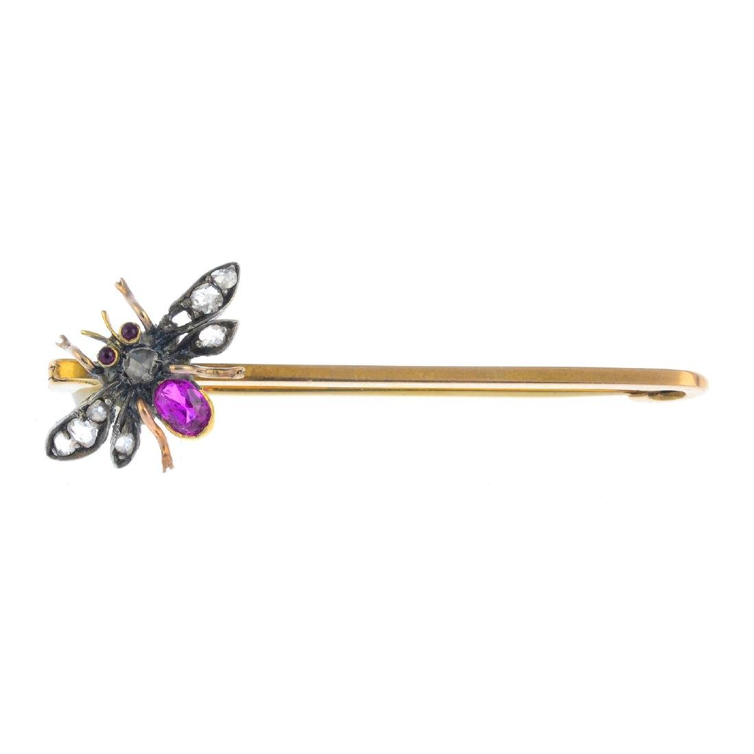 A ruby and diamond fly brooch. The late Victorian