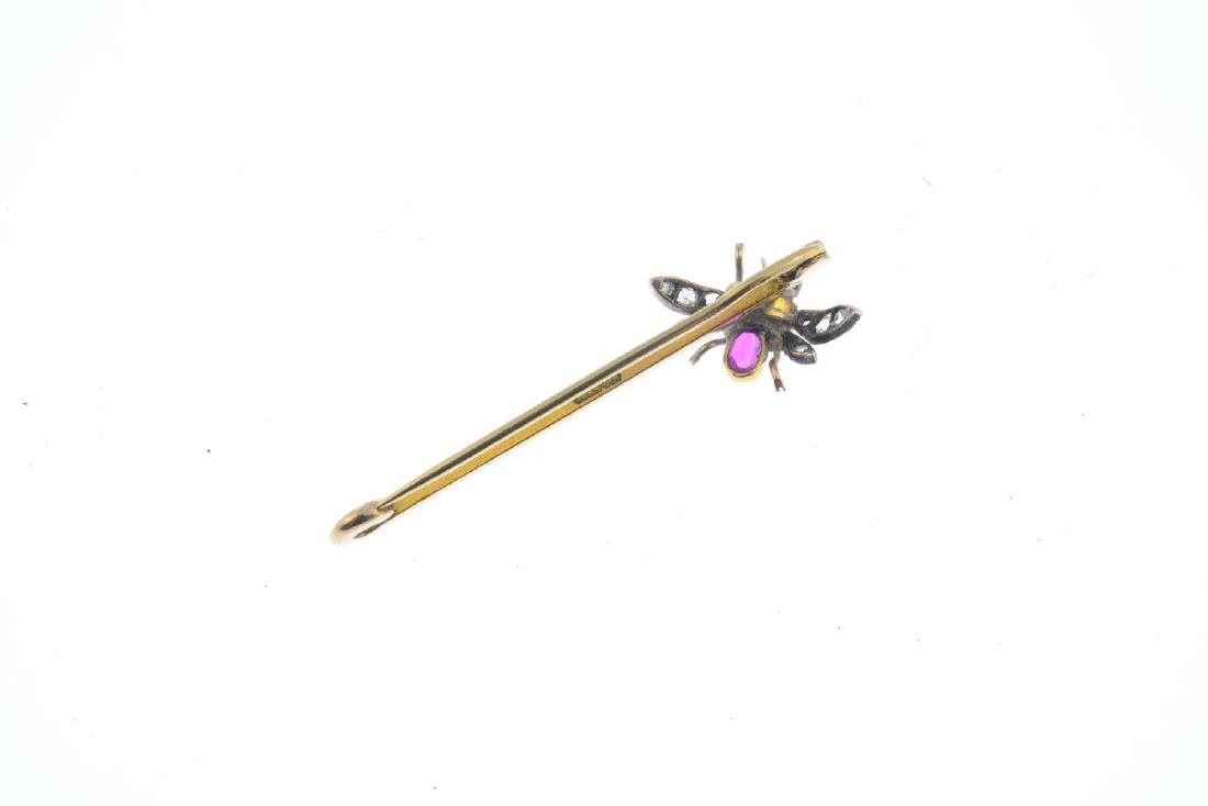 A ruby and diamond fly brooch. The late Victorian - 2