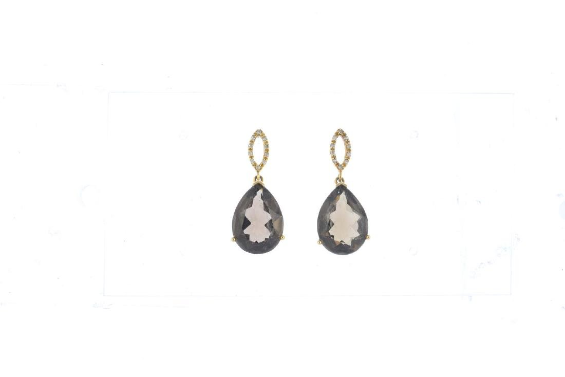 A set of 9ct gold smoky quartz jewellery. To include a - 2