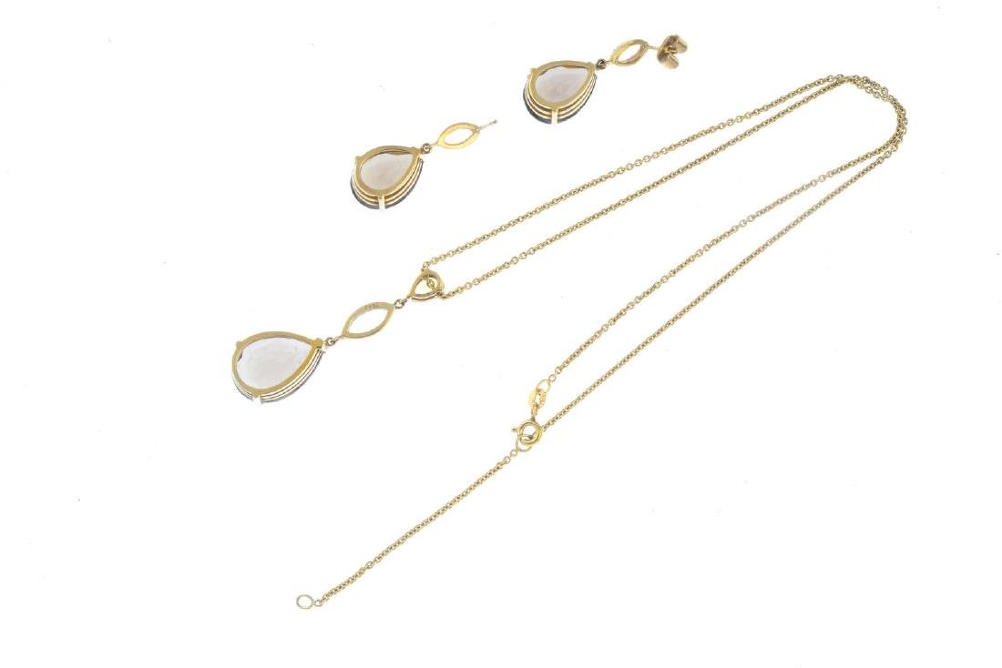 A set of 9ct gold smoky quartz jewellery. To include a - 3