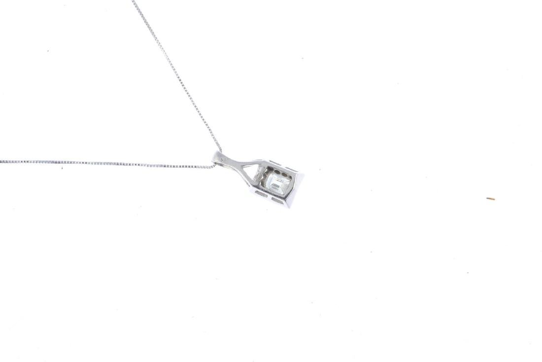An 18ct gold diamond pendant. The rectangular-shape - 2