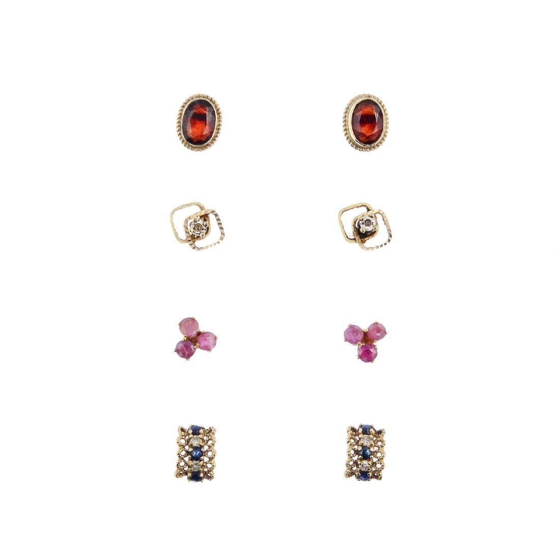 A selection of eleven pairs of gem-set earrings. To