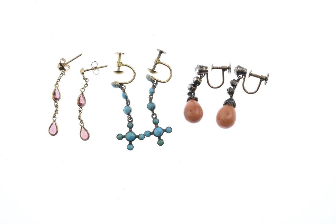 A selection of eleven pairs of gem-set earrings. To - 2