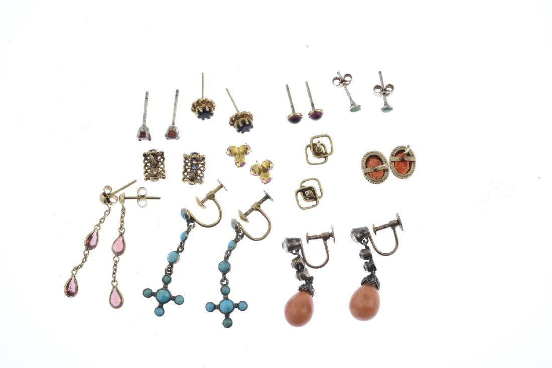A selection of eleven pairs of gem-set earrings. To - 4