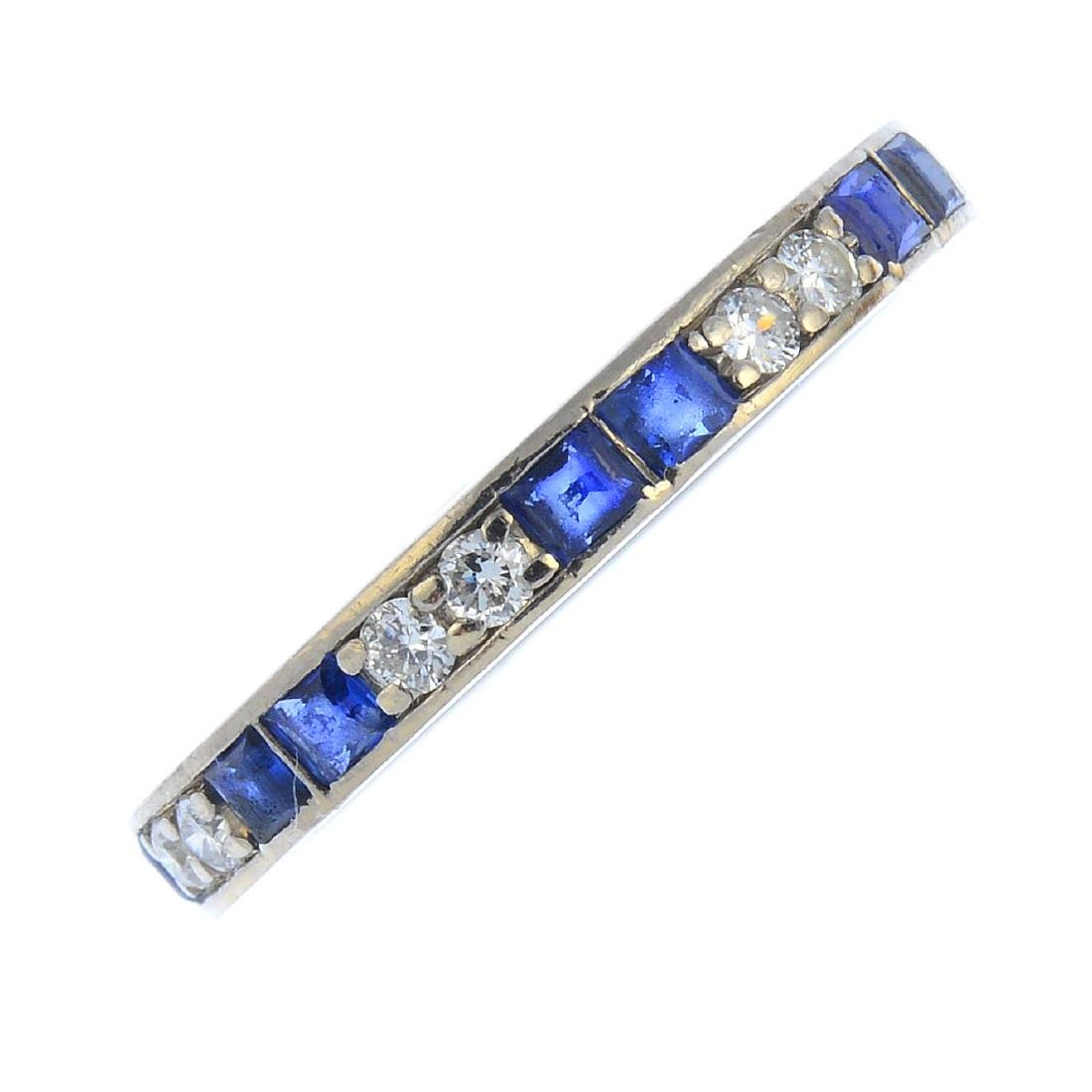 A mid 20th century sapphire and diamond full eternity