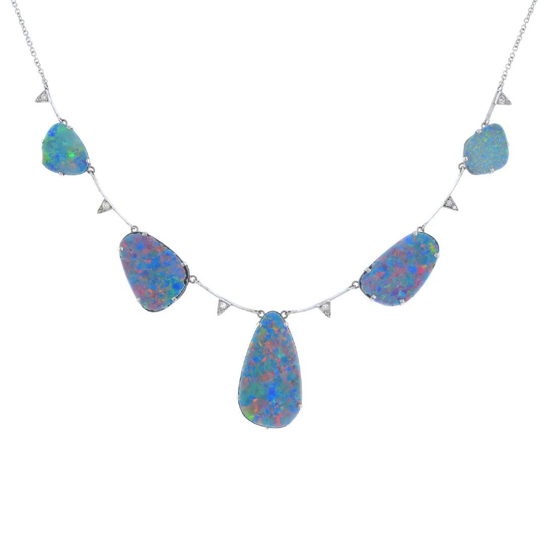 An 18ct gold opal doublet and diamond necklace.