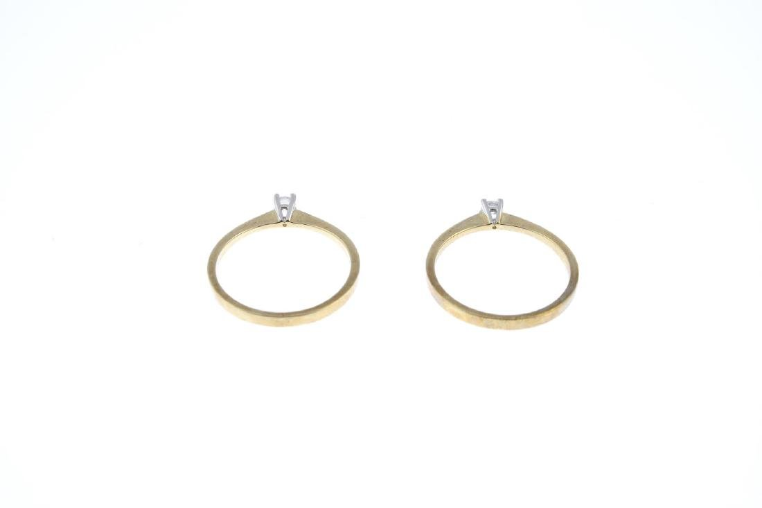 Two diamond single-stone rings. Each designed as a - 3