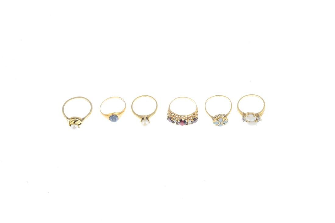 Six gem-set rings. To include a 9ct gold opal and - 2