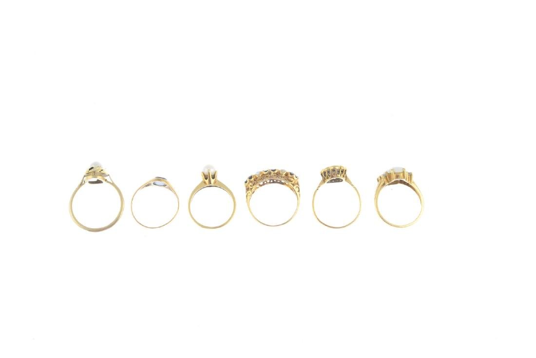 Six gem-set rings. To include a 9ct gold opal and - 3