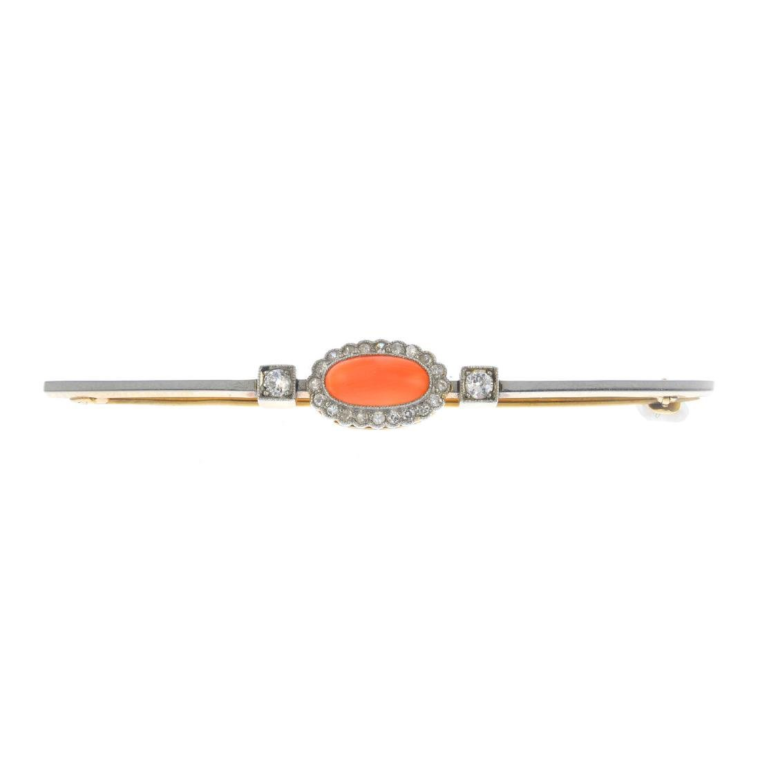 An early 20th century platinum and gold, coral and